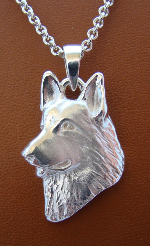 Head Sterling Silver Belgian Tervuren Pendant