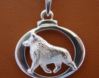 Small Sterling Silver Schipperke Moving Study On A Horizontal Oval Frame Pendant