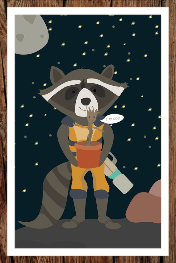 Guardians Of The Galaxy Poster Avengers Giclee Quality Rocket Racoon Painting