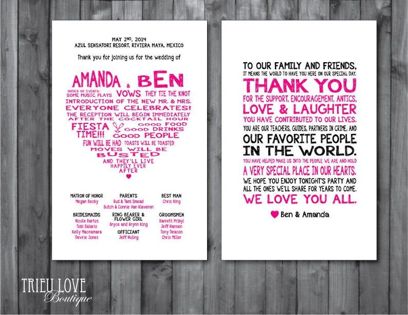 Double-sided Sweetheart Wedding Ceremony Program  Digital image 0