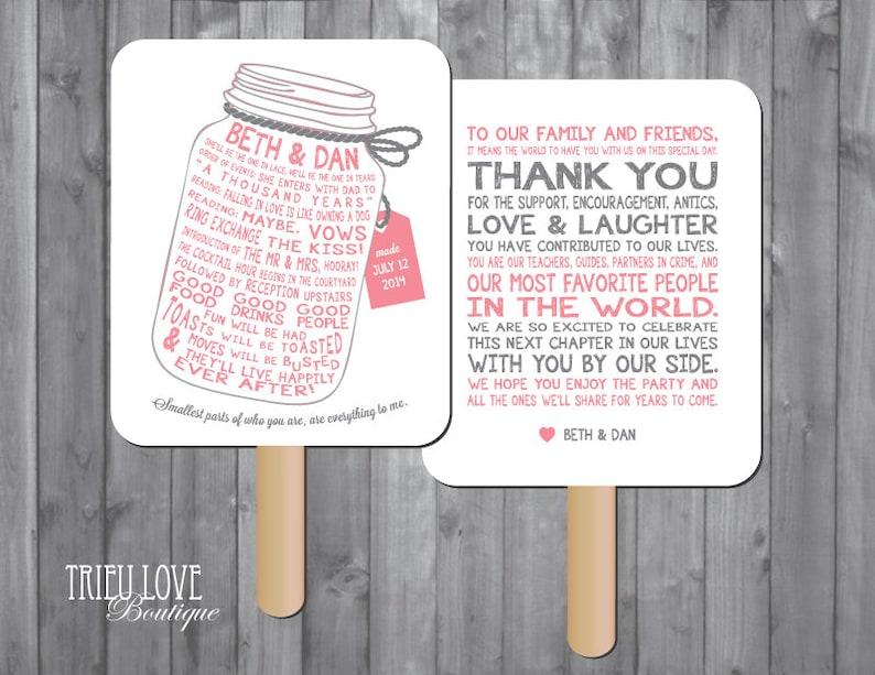 Personalized Mason Jar Wedding Ceremony Program Fan  Digital image 0