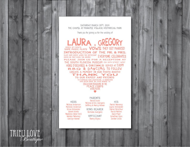 Sweetheart Wedding Ceremony Program  Digital Printable image 0