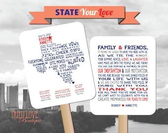 Personalized American State Shape | Hometown | Destination | Country  Wedding Ceremony Program Fan - Digital File