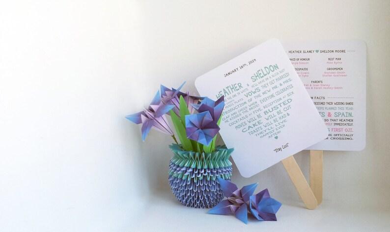 Sweetheart Wedding Ceremony Program Fan  Fully Customizable image 0