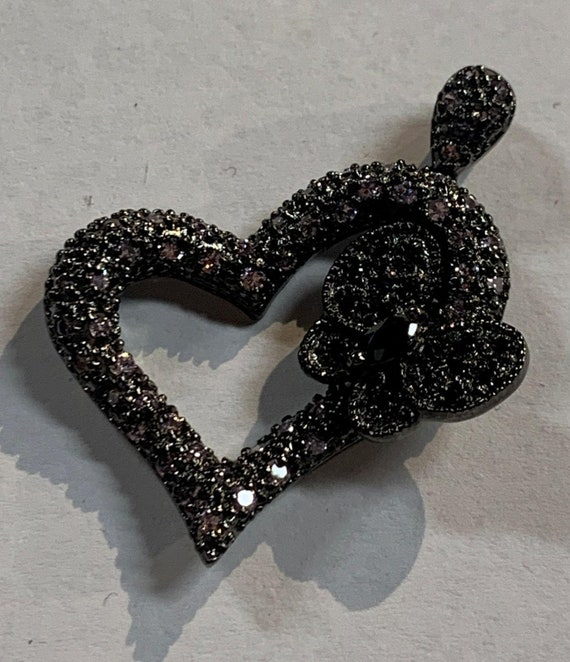 925 Silver Heart and Butterfly Pendant with Clear and Black Rhinestones Vintage Jewelry