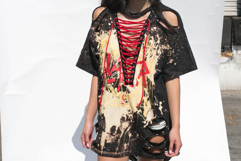 Lace Up Band Tee LF Inspired Lace Up Tee Reworked LF Lace  bd6791366
