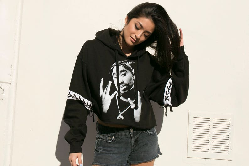 312ece64e0 Cropped Tupac Hoodie Reworked Cropped Hoodie Oversized