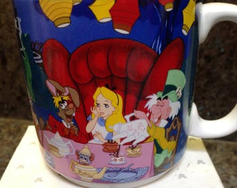 Vintage Disney Store ALICE IN WONDERLAND Mug Cup Mad Hatter Tea Party With Box