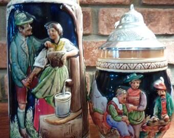 """2 Vintage German Beer Stein """"da ist es schon""""  There Is It Beautiful"""