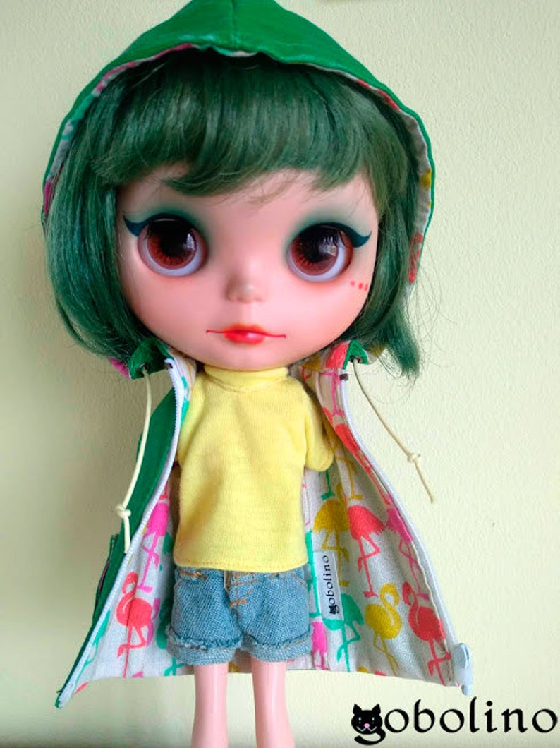 Green and flamingos raincoat for Blythe dolls