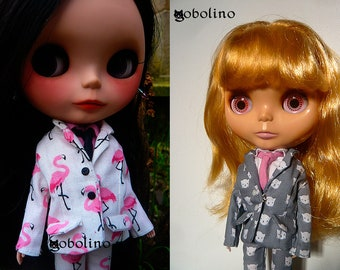 Flamingo suit (Miami Vice)/ cats suit (Business cat) for Blythe and Licca dolls