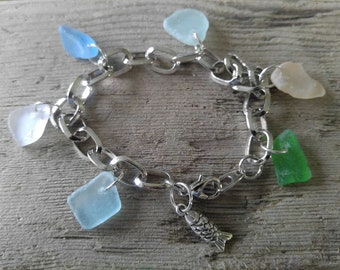 Assorted Colors  Sea Glass Bracelet from Maryland's Eastern Shore
