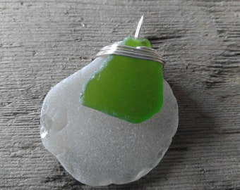White with Green Sea Glass Pendant from Maryland's Eastern Shore