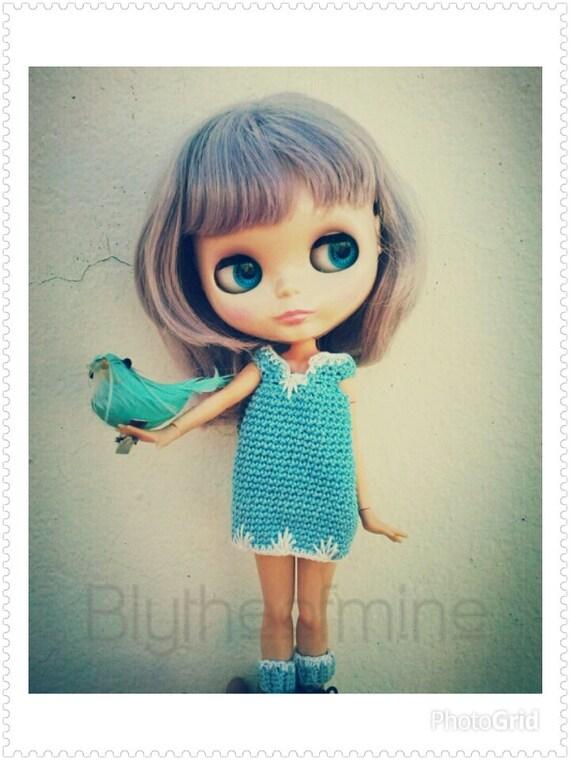 PATRÓN de crochet PDF . Vestido FEZ para Blythe o Pullip