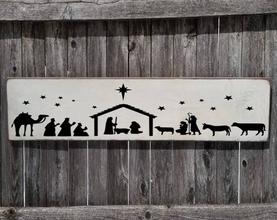 Christmas Sign - Nativity Sign - Holiday Decor - Christmas Decor -  Farmhouse Sign - Religious Sign - Farmhouse Decor - Primitive Sign -