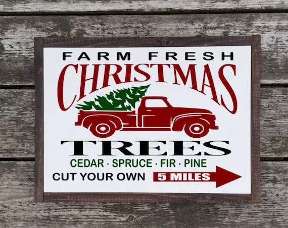 Farm Fresh Christmas Trees Sign - Merry Christmas Sign - Christmas Sign - Christmas Decor - Farmhouse Christmas - Farmhouse Decor-  Trees