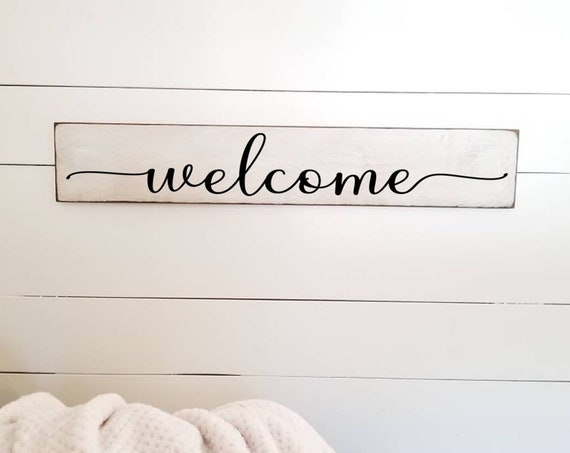 Welcome Sign - Farmhouse Décor - Farmhouse Sign - Stay Awhile - Primitive Sign - Rustic - Shabby Chic - Kitchen Sign - Entryway Sign