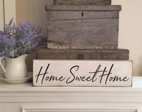 Home Sweet Home Sign, Farmhouse Decor, Primitive Wood Sign, Rustic Decor, Kitchen Sign, House Warming Gift, Welcome Sign