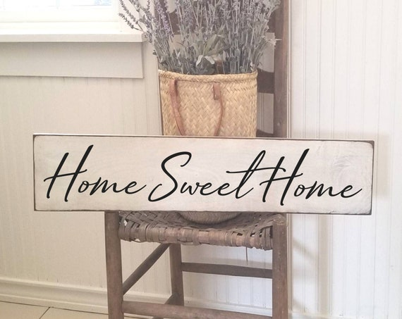 Home Sweet Home Sign, Farmhouse Decor, Primitive Wood Sign, Rustic Decor, Kitchen Sign, House Warming Gift, Welcome Sign, Large Sign
