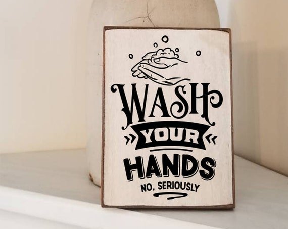 Wash Your Hands Bathroom Sign - Bathroom Decor - Funny Bathroom Sign - Farmhouse Decor - Primitive Bathroom Sign - Get Naked Sign