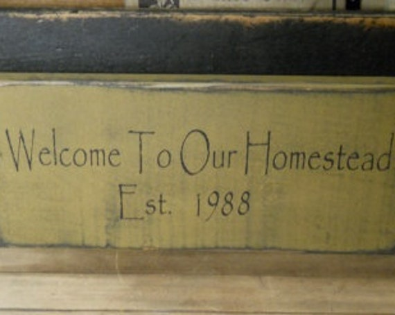 Welcome Sign - Personalized Welcome Sign - Established Sign - Wedding Sign - Wedding Gift - House Warming Gift - Primitive Sign - Farmhouse