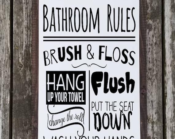 Wash Brush Floss Flush Sign - Bathroom Sign - Farmhouse Decor - Rustic Bathroom Decor - Home Decor - Bath Signs - Childrens Bathroom - Bath