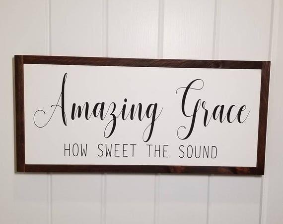 Amazing Grace Sign - Farmhouse Decor - Inspirational Decor - Rustic Decor - Hymn - Fixer Upper Inspired - Kitchen Decor - Wedding Decor