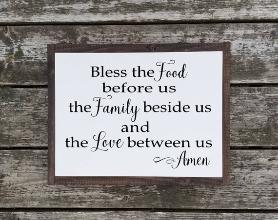 Bless The Food Before Us Sign - Kitchen Decor - Farmhouse Decor - Rustic Decor -Housewarming Gift -Kitchen Sign -Farmhouse Sign -Prayer Sign