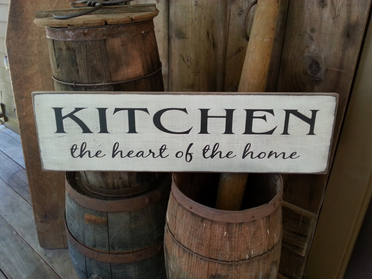 Kitchen The Heart Of Home Wood Sign Farmhouse Decor Primitive Rustic House Warming Gift