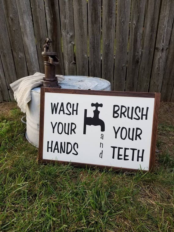 Bathroom Decor - Wash Your Hands Sign - Bathroom Sign - Farmhouse Decor - Rustic Bathroom Decor -  Bathroom Signs - Childrens Bathroom