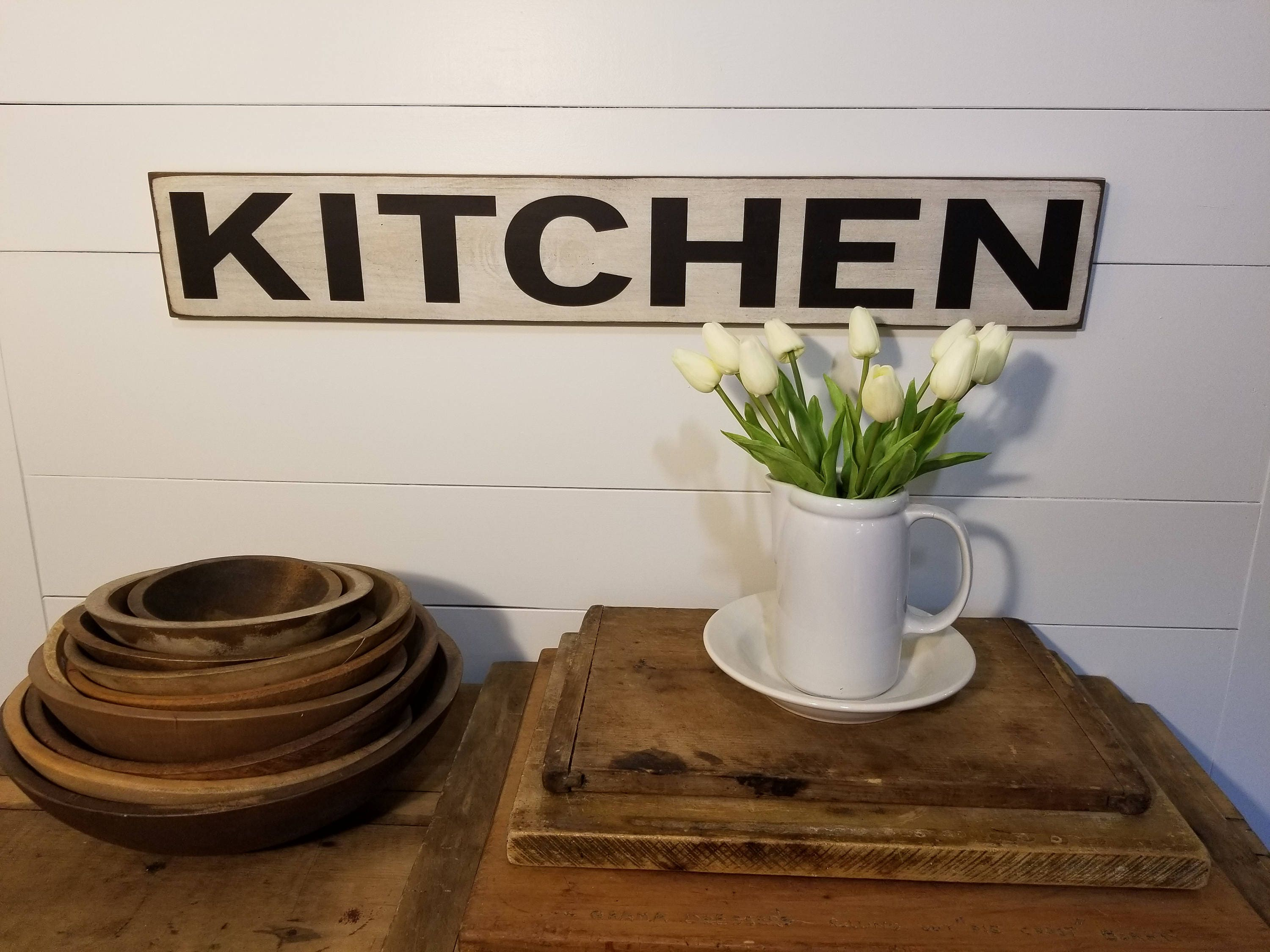 Kitchen Sign Farmhouse Decor Rustic Wooden Sign