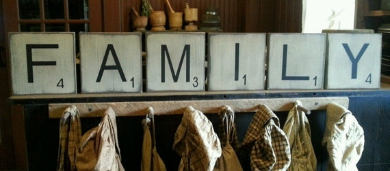 "Large Scrabble Tiles ""FAMILY"" For Wall Art Wooden Primitive Sign"
