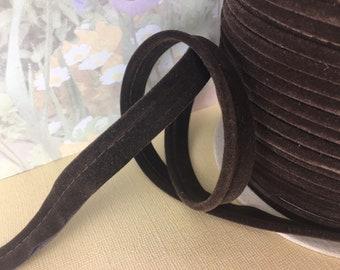 ***Vintage Velvet Tubing Chocolate Brown 1 Yard***