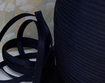 5yds Elastic Shiny Satin Dark Blue 1/4 inch - 6mm diy Headband Underwear Elastic lingerie Bra Making Supplies Sateen Elastic