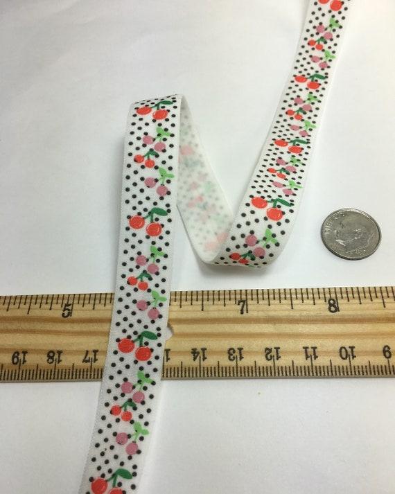 "13 Yard 5//8/"" Polka Dot Print Fold Over Elastics FOE Spandex Band DIY Sewing Trim"