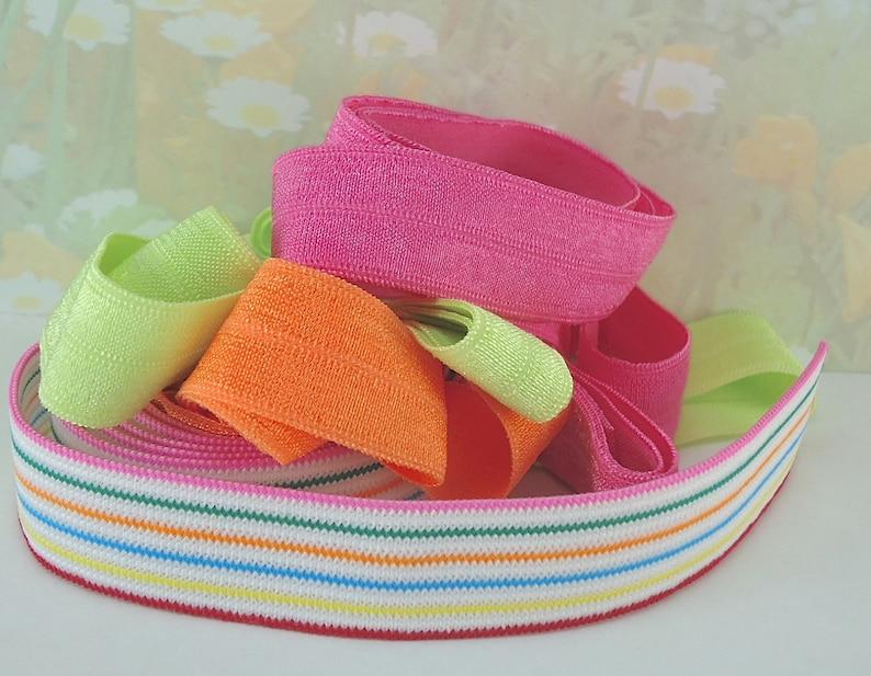 4yds Stretch Ribbon Elastic Fold Over band diy Hair ties ...