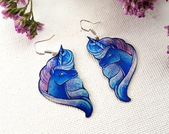 Magical Creature Fantasy Mythical Blue Unicorn Galaxy Nebula Mane Horse Metal Dangle Earrings