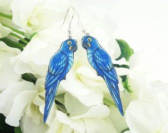 Parrot Indigo Hyacinth Macaw Blue Bird Lover Gift Wildlife Nature Metal Dangle Earrings