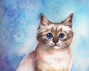 Original Custom Watercolor Painting Pet Portrait Cat Dog Lover Unique Gift Art Memorial Made To Order