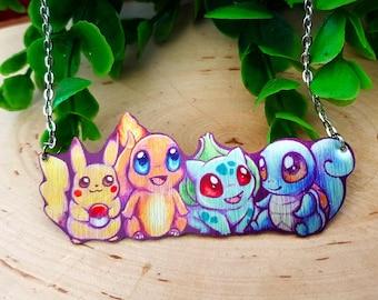Pokemon Starter First Gen Pikachu Charmander Squirtle Bulbasaur Kawaii Geek Chic First Gen Nintendo Metal Statement Fantasy Necklace