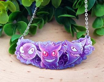 Ghost Pokemon Gastly Haunter Gengar Geek Chic Purple First Gen Nintendo Metal Statement Fantasy Necklace