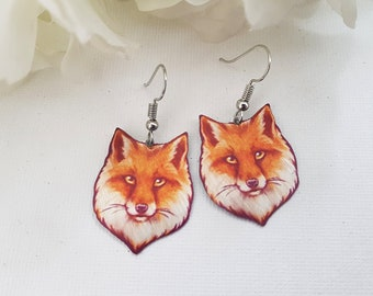 Realistic Red Fox Vulpine Cute Animal Wildlife Nature Metal Dangle Earrings