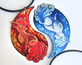Vulpix Alolan Pokemon Fox Geek Chic Magic Fantasy Ice Fire Duality Pair Bond Friendship Couple Valentine Metal Orange Blue Necklace Pendant