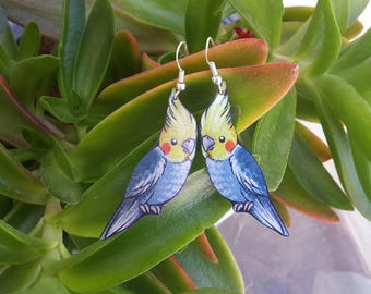 Parrot Cockatiel Cute Bird Animal Grey Yellow Pet Wildlife Nature Metal Dangle Earrings