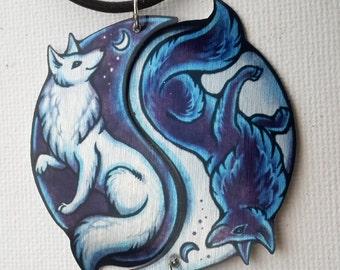 Black White Yin Yang Fox Vulpine Spiritual Duality Pair Bond Friendship Romantic Couple Valentine Metal Necklace Pendant