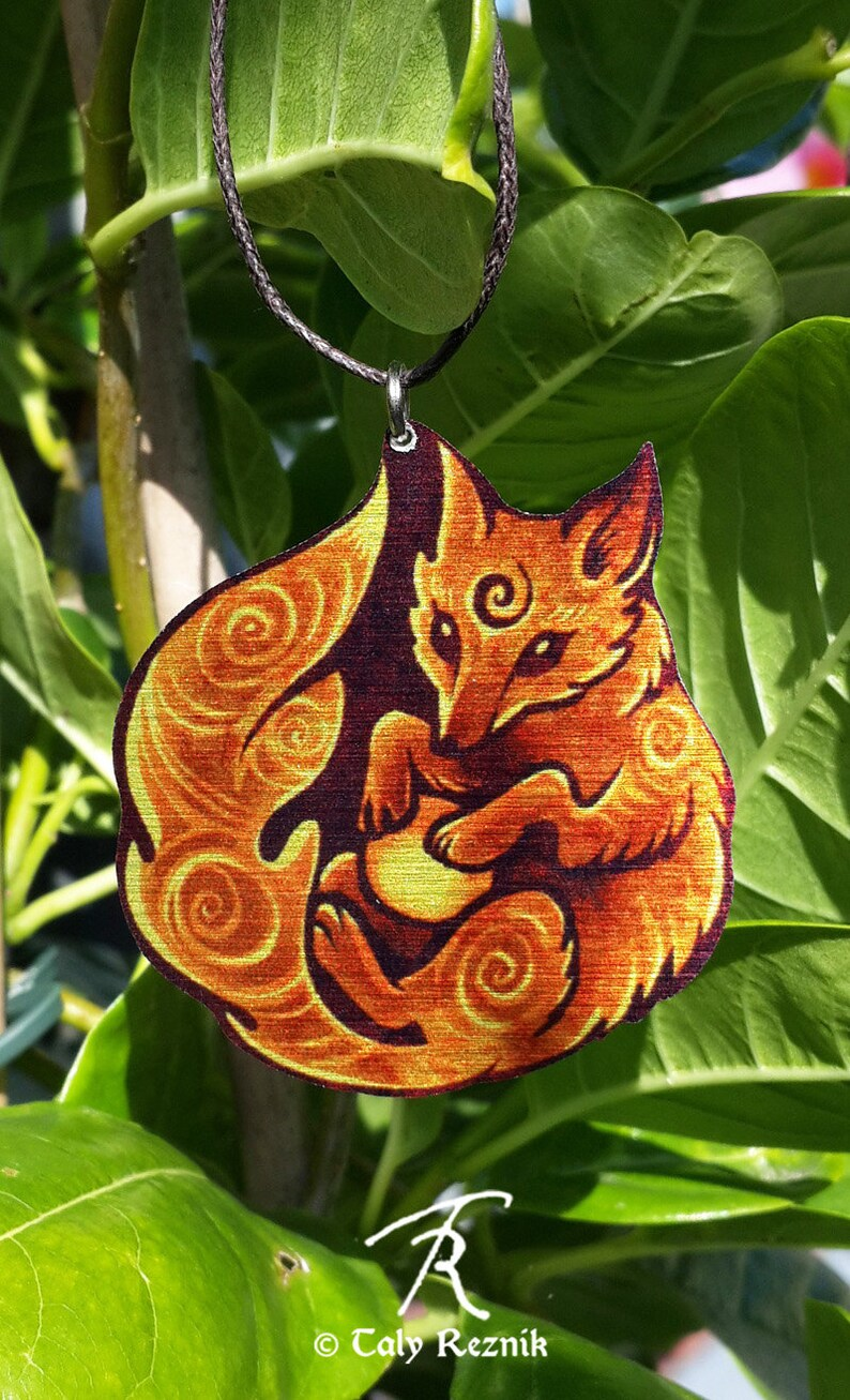 c8d65311bcee6 Mystic Tribal Spiritual Fox Totem Spiral Orange Fire Blue Ice Metal  Necklace Pendant