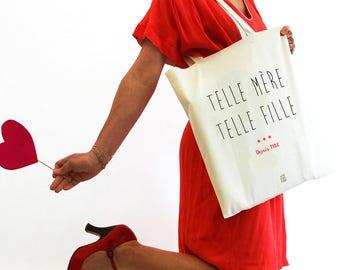 """Sac """"Telle mère Telle fille"""", fête des mères, Tote bag à personnaliser, maman, shopping bag, sac en tissu, coton, français, cadeau"""