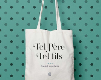 Like Father, Like son, tote bag party dad granddad cute gift, canvas bag, market bike, cotton bag, father's day