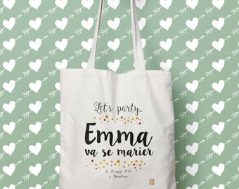 Tote bag personalized rustic wedding, bachelorette party Let's party