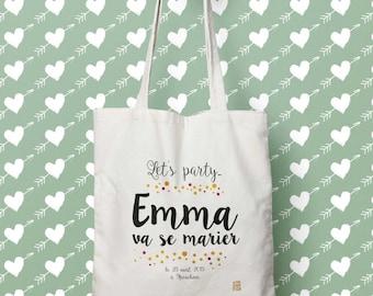 Tote bag personnalisable Mariage champêtre, EVJF Let's party